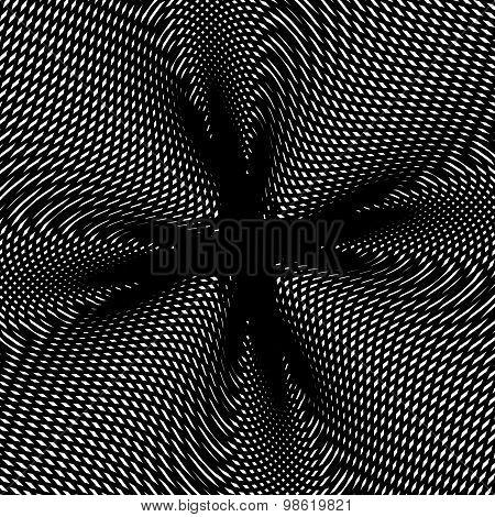 Optical illusion, creative black and white graphic moire backdrop. Decorative hypnotic contrast