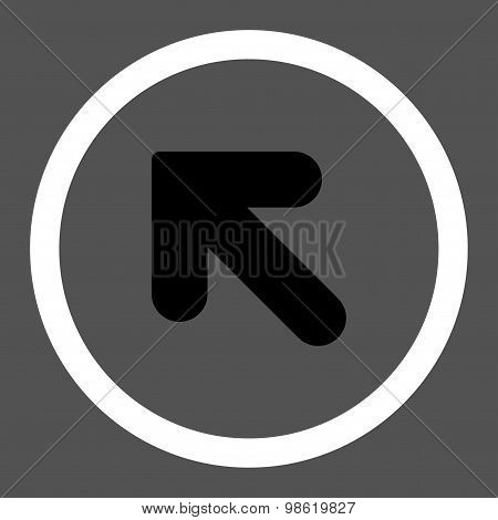 Arrow Up Left flat black and white colors rounded raster icon