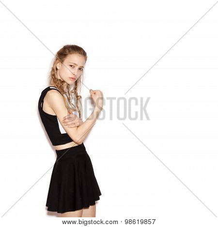 Fashion Girl Hipster With Pigtails In A Black Skirt