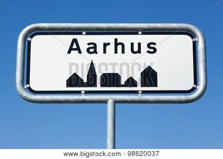 Aarhus road sign in Denmark