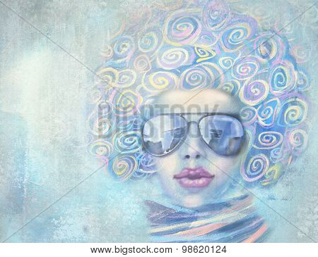 Illustration Of Fashion Woman In Sunglasses With Speech Bubble.