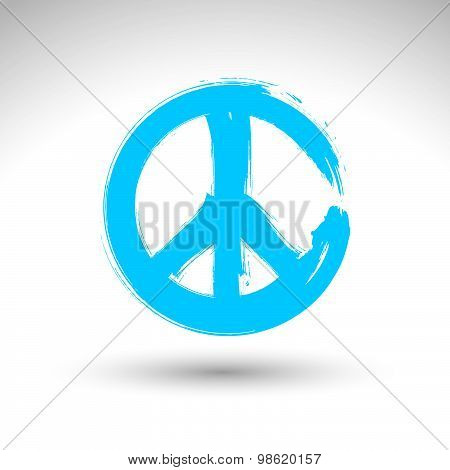 Hand drawn simple vector peace icon, brush drawing blue realistic peace symbol, hand-painted symbol