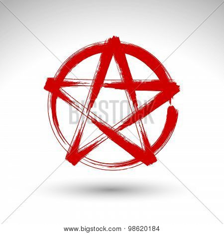Hand drawn pentagram icon scanned and vectorized, brush drawing red magic polygonal star, hand-paint