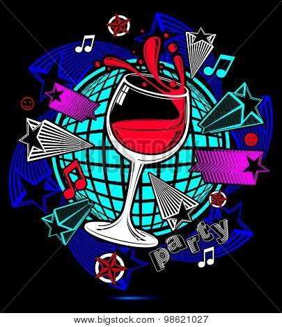 Leisure fantasy backdrop with musical notes and salute, lounge theme poster. Glass goblet with wine