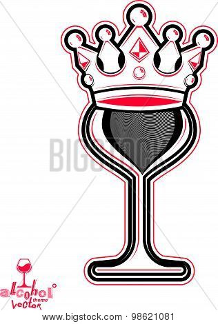 Elegant wineglass with king crown, artistic vector goblet. Imperial idea emblem