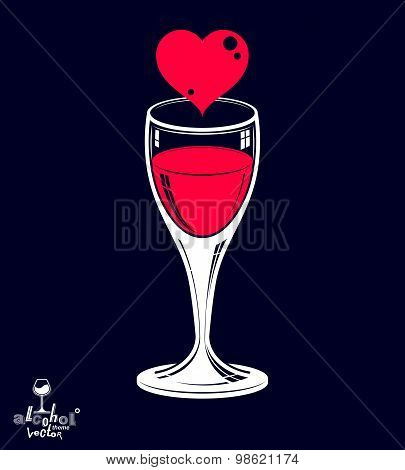 Valentine day vector illustration placed on dark background. Design wineglass with loving heart