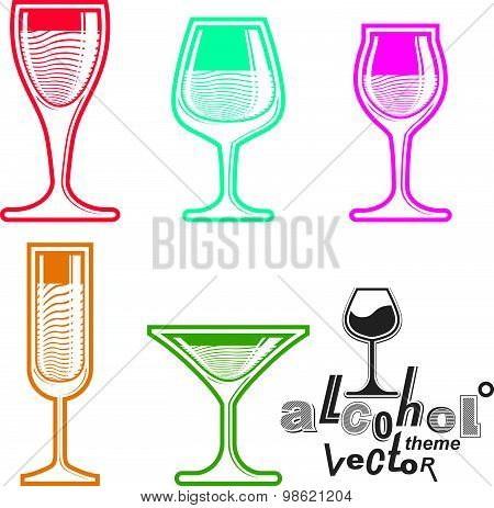 Colorful glasses collection. Entertainment elements, best for use in graphic and web design.