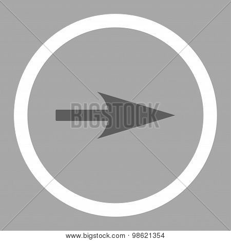 Arrow Axis X flat dark gray and white colors rounded raster icon