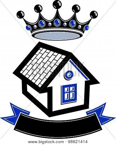 Kingdom idea, imperial blazon with stylish dimensional crown and decorative beautiful ribbon.