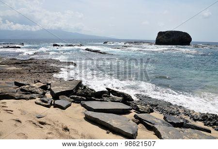 Flat Rock By Waves