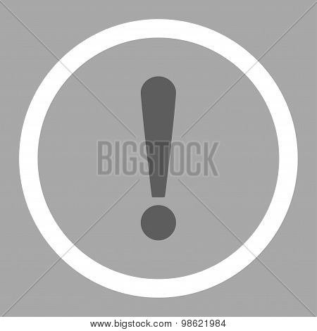 Exclamation Sign flat dark gray and white colors rounded raster icon