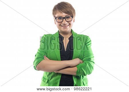 Photo of smiling pudgy woman with arms crossed