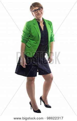 Photo of pudgy woman leaned aside