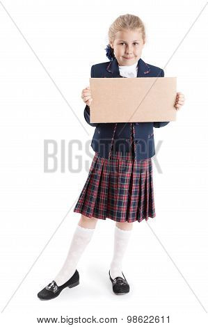 Elementary Schoolgirl Standing With Empty Cardboard In Hands, Isolated On White Background