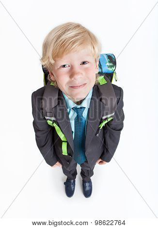 Full-length Schoolboy With School Backpack On Back, Isolated On White Background