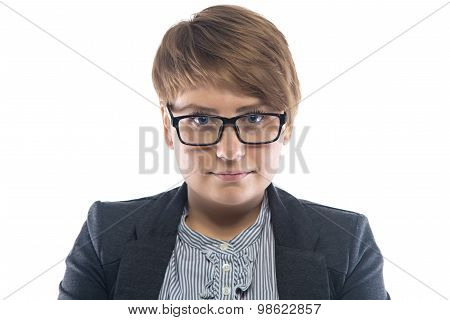 Photo of thick woman in glasses