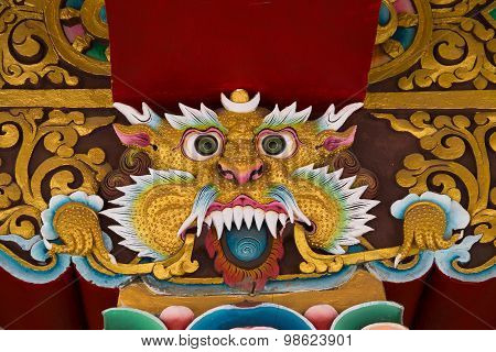 Mythological Image Of A Lion In Buddhist Monastery.  India