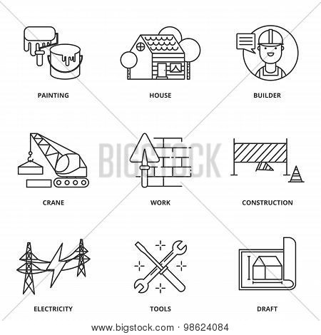 Construction Vector Icons Set Modern Line Style