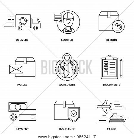 Logistics And Delivery Vector Icons Set Modern Line Style