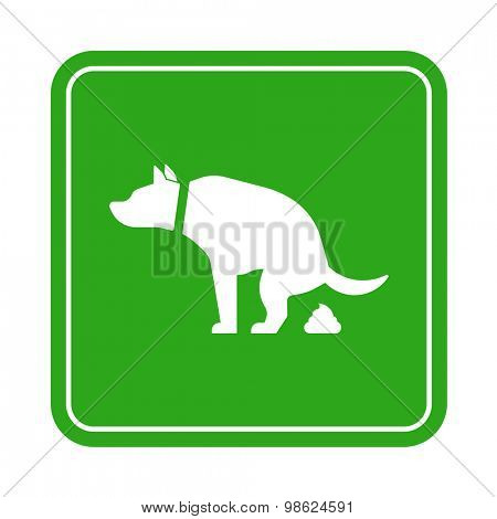 Dog poop zone sign isolated on white background