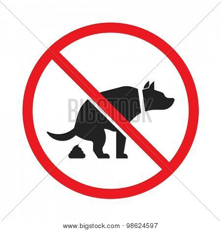 No dog pooping sign isolated on white background