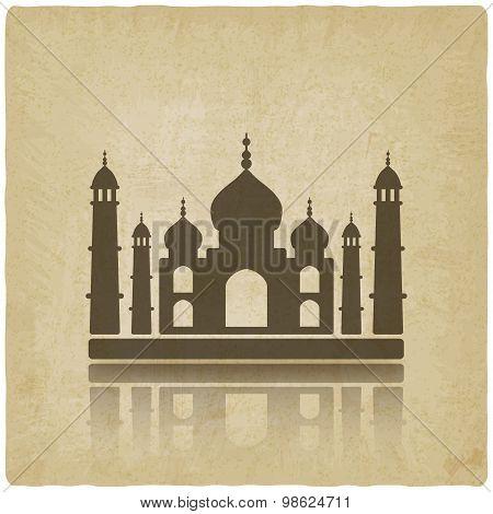 Taj Mahal on old background