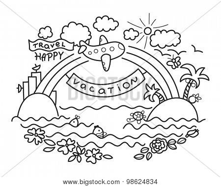 Freehand drawing - cartoon flight of airplane from urban island to tropical island, rainbow with banner Vacation and plane with flag Happy Travel.