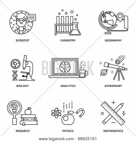 Science Vector Icons Set Modern Line Style