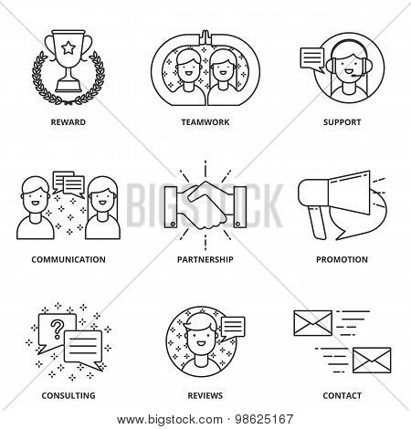 Customer Support And Management Vector Icons Set Modern Line Style