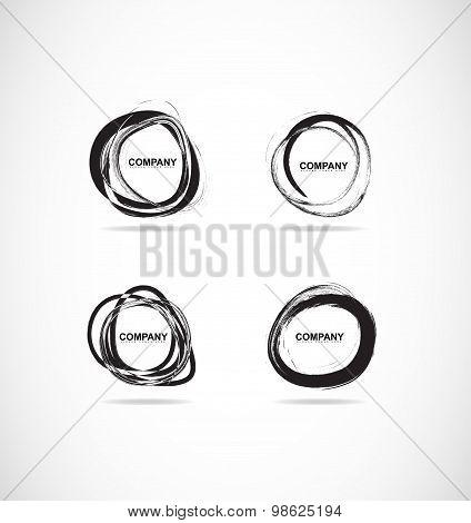 Grunge Bursh Circle Logo Set