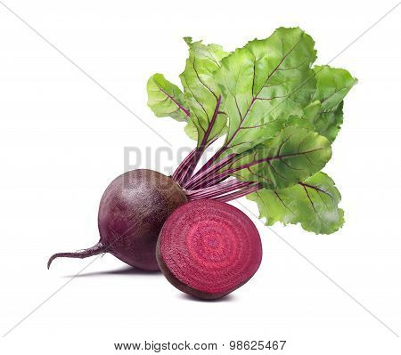Whole Beet Root Half Composition Isolated On White Background