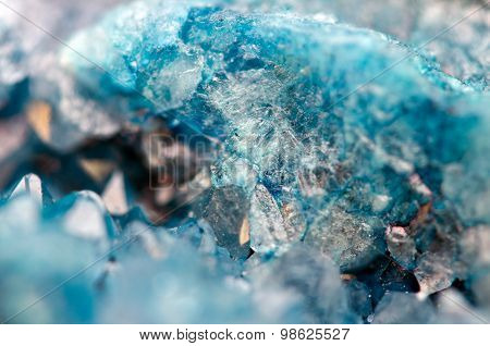 Blue Crystals Agate Sio2. Macro