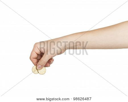 A Female(woman) Hand Hold A Coin Isolated White At The Studio.