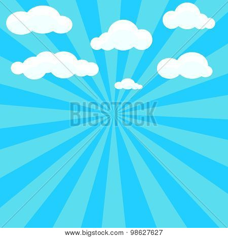 Clouds and blue sky with sunburst on background