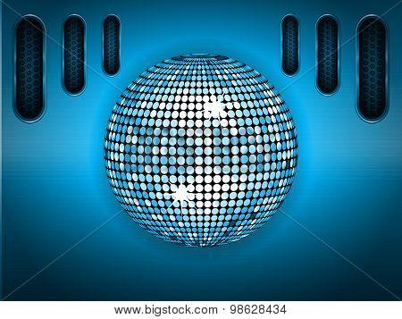 Disco Ball Over Blue Brushed Metallic Panel