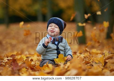 cute little baby in autumn park