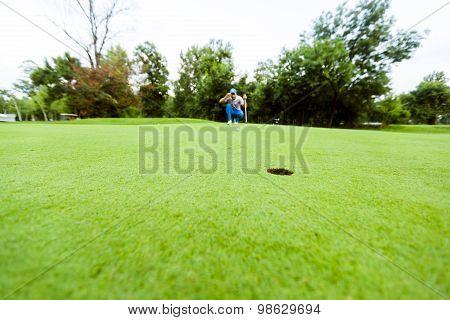 Golfer Ready To Take The Shot