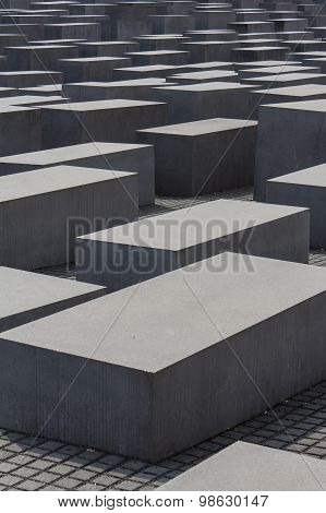 BERLIN, GERMANY, August 13, 2015: concrete blocks of the jewish holocaust memorial in berlin - memor