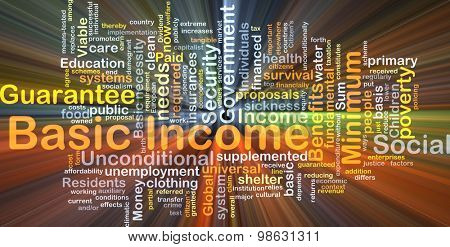 Background concept wordcloud illustration of basic income glowing light