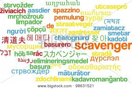 Background concept wordcloud multilanguage international many language illustration of scavenger