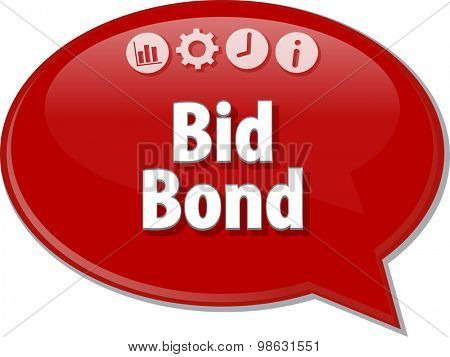 Speech bubble dialog illustration of business term saying Bid Bond