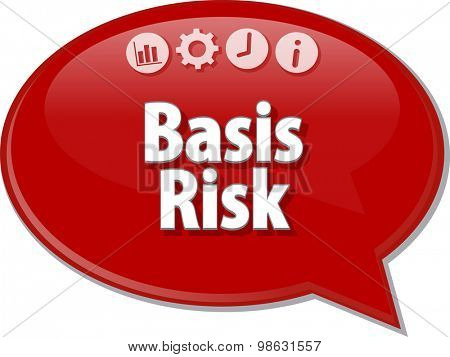 Speech bubble dialog illustration of business term saying Basis Risk
