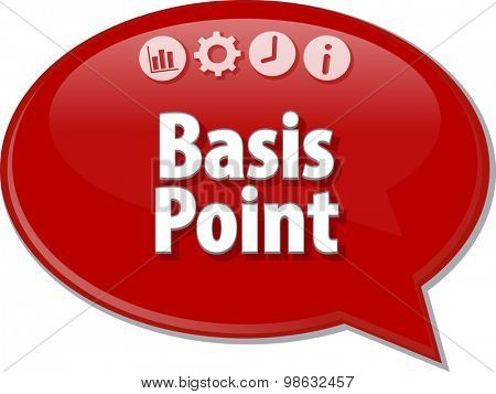 Speech bubble dialog illustration of business term saying Basis Point
