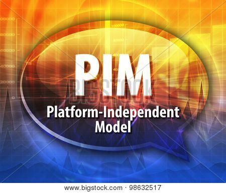 Speech bubble illustration of information technology acronym abbreviation term definition PIM Platform-Independent Model