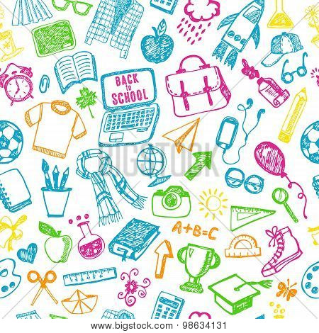 Seamless Pattern Of School. Back To School Illustration.