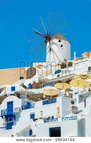Windmill And Apartments In Oia, Santorini, Greece
