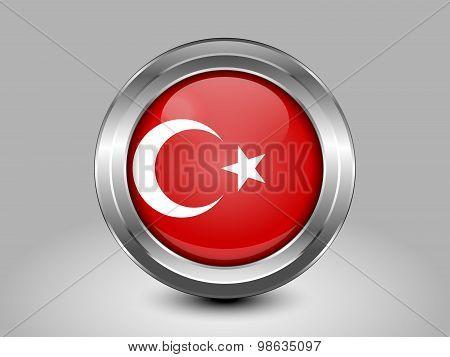 Flag Of Turkey. Metal Round Icon