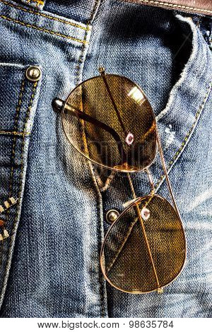 Blue Jeans Trouser With Sun Glasses