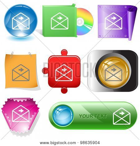 mail right arrow. Vector internet buttons.