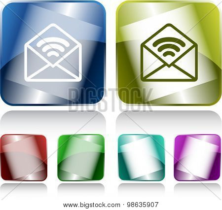 open mail with sound. Internet buttons. Vector illustration.